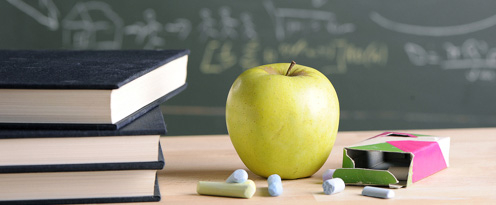apple chalk and books